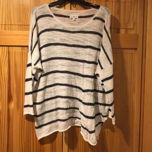 Lou & Grey white and navy striped sweater